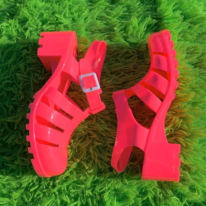 Hot pink jelly sandals