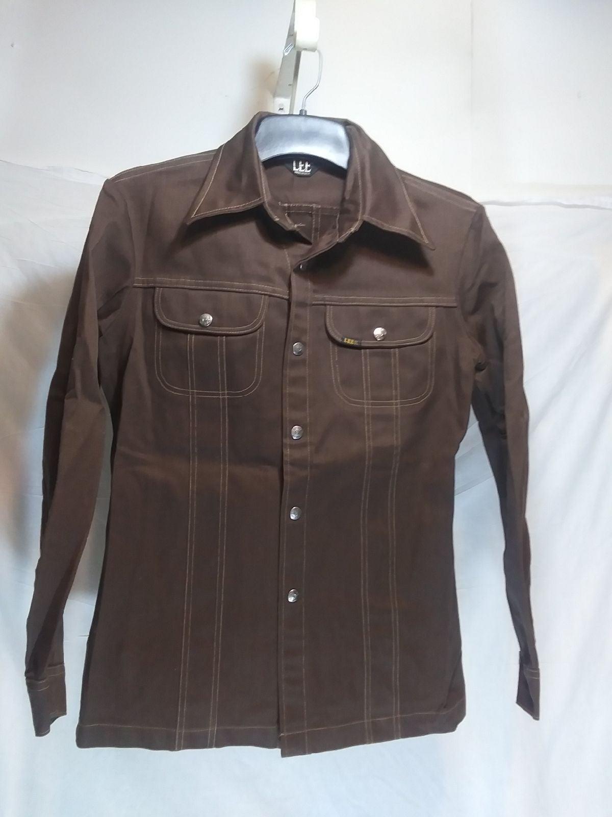 Vtg 70s Lee West Cal 45 Denim Shirt M