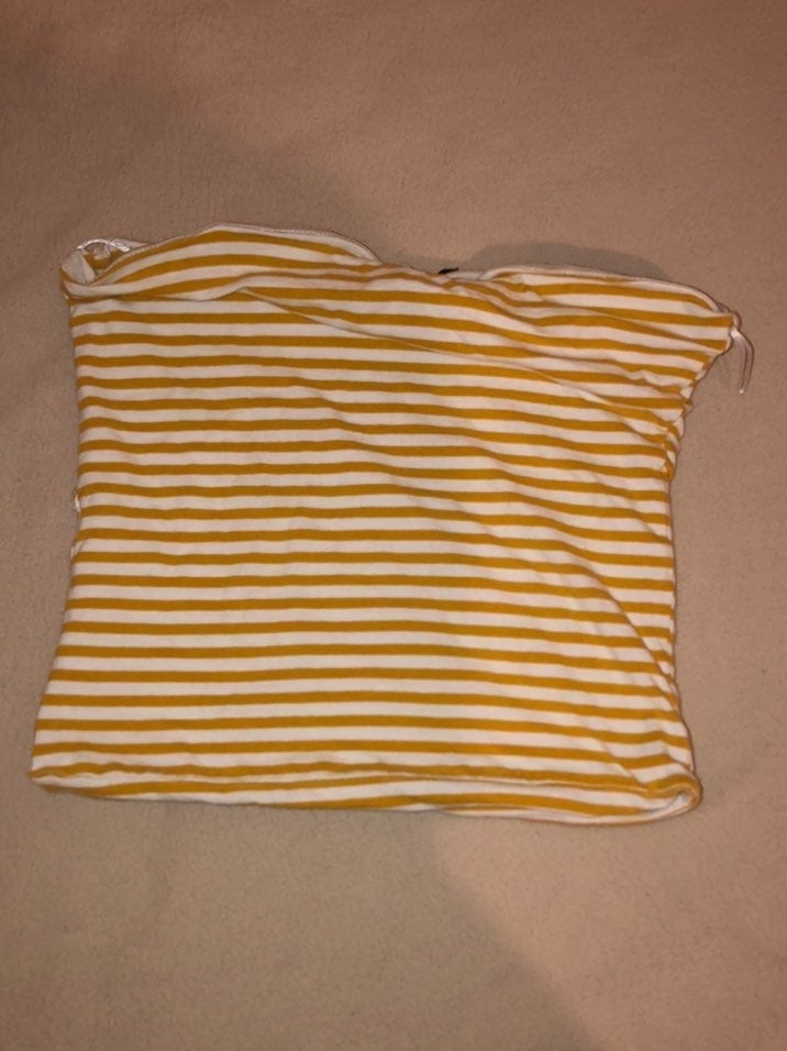 Yellow and white stripe tube top