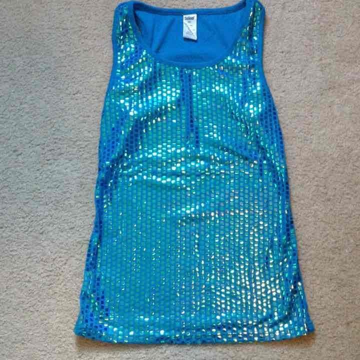 Blue sequin tank top