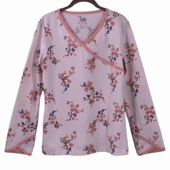 Garnet Hill Pink Floral Asian Wrap PJ To