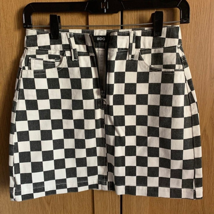Womens BDG Checkered Denim Skirt
