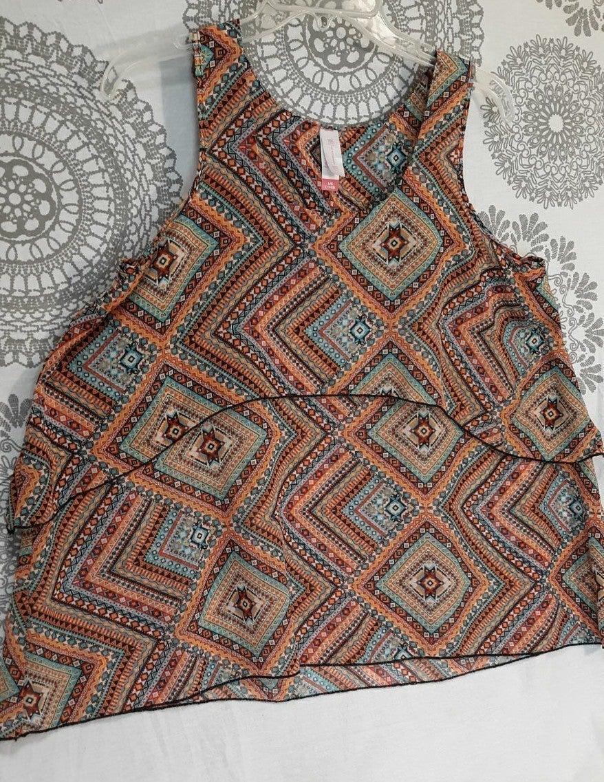 Loose tribal print tank shirt