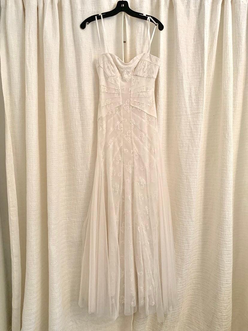 BCBG white lace wedding dress
