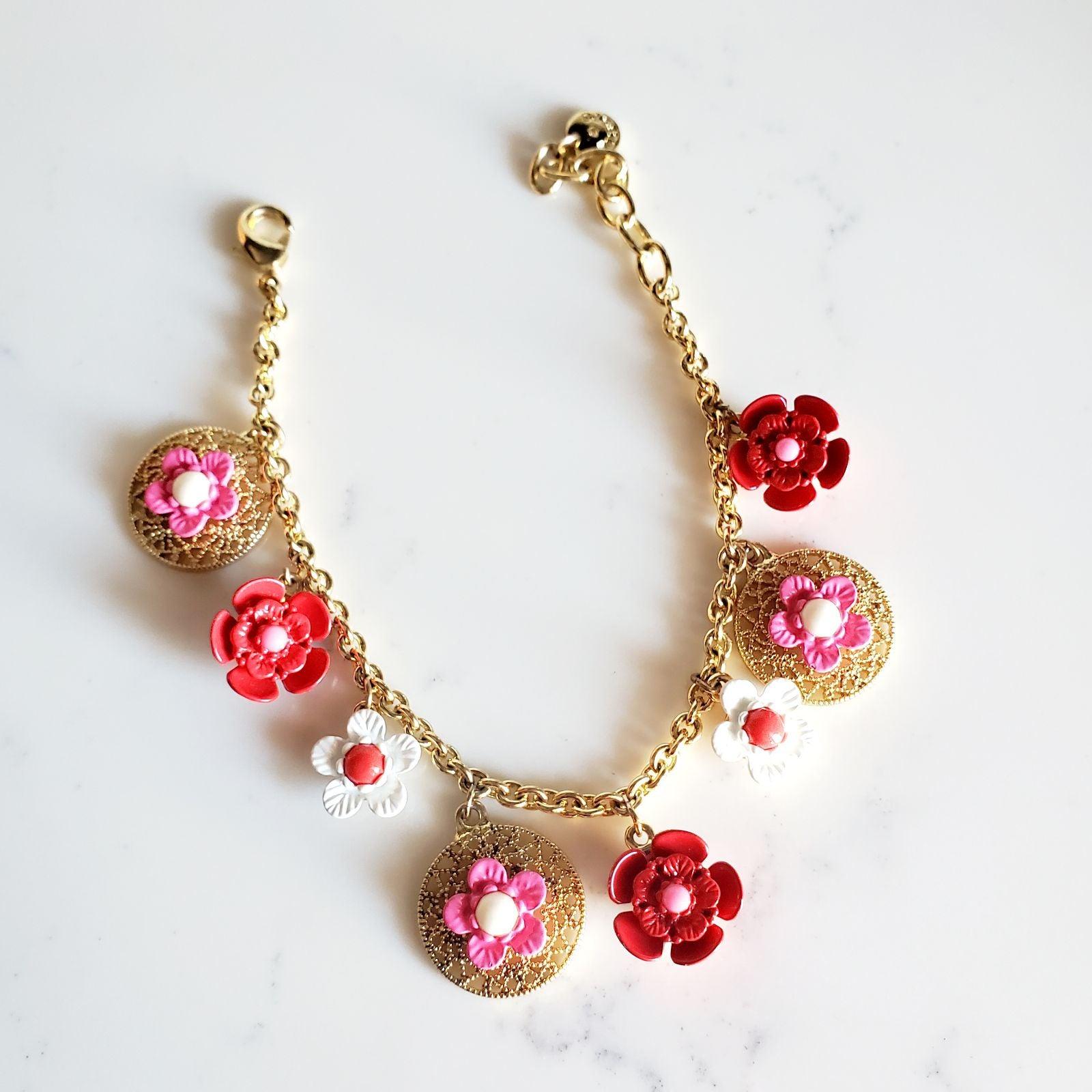 Talbots Floral Bracelet Gold Toned