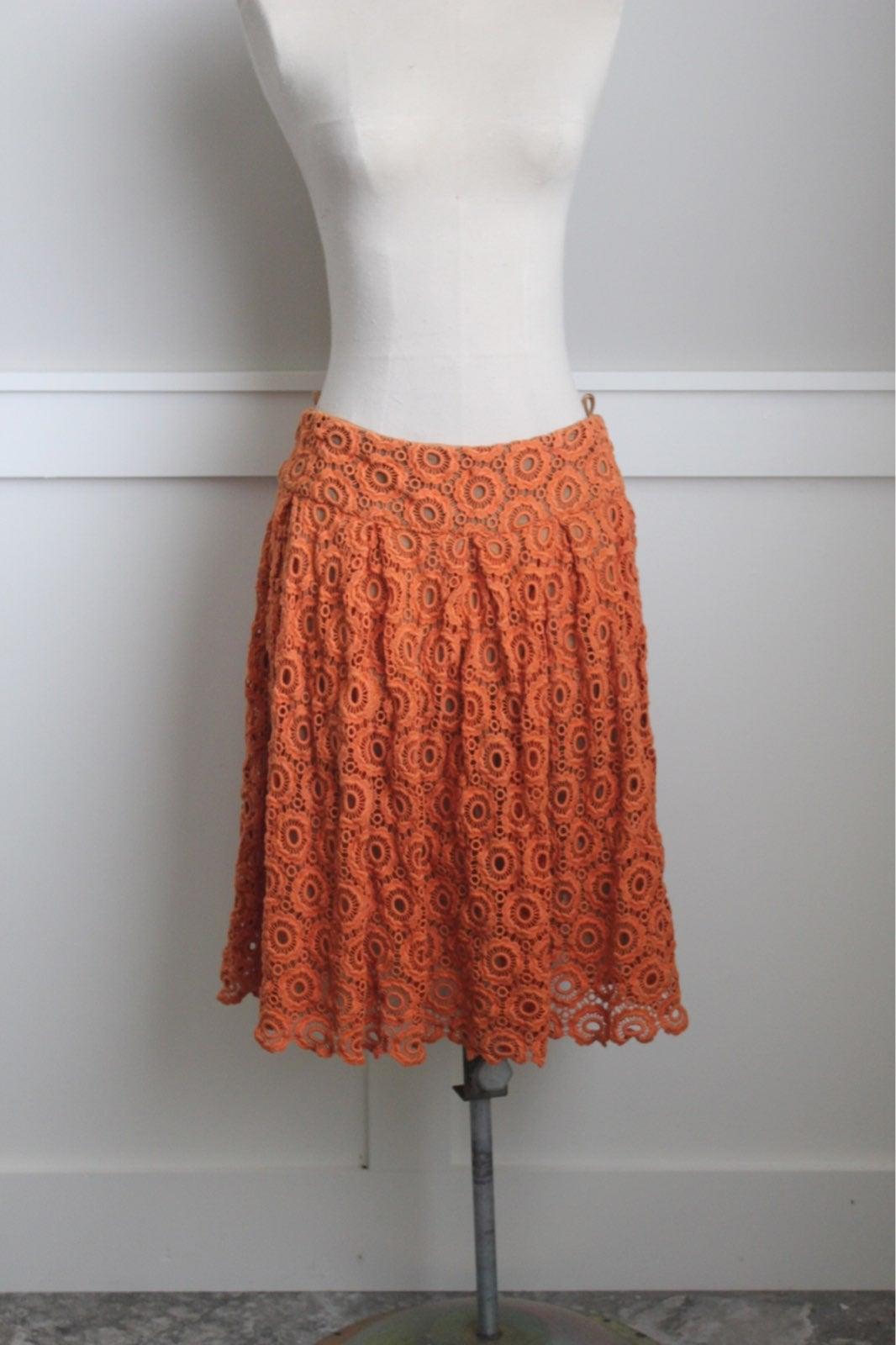 Orange lace overlay anthro skirt