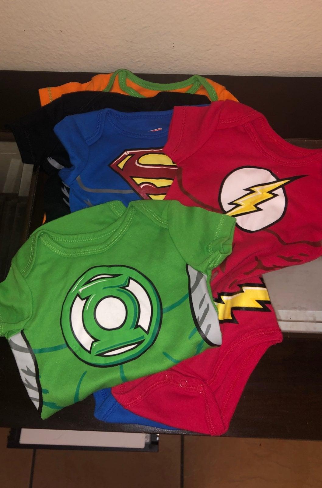 5pk baby DC justice leauge onesie's