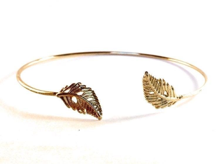 Gold Double Leaf Bangle Bracelet
