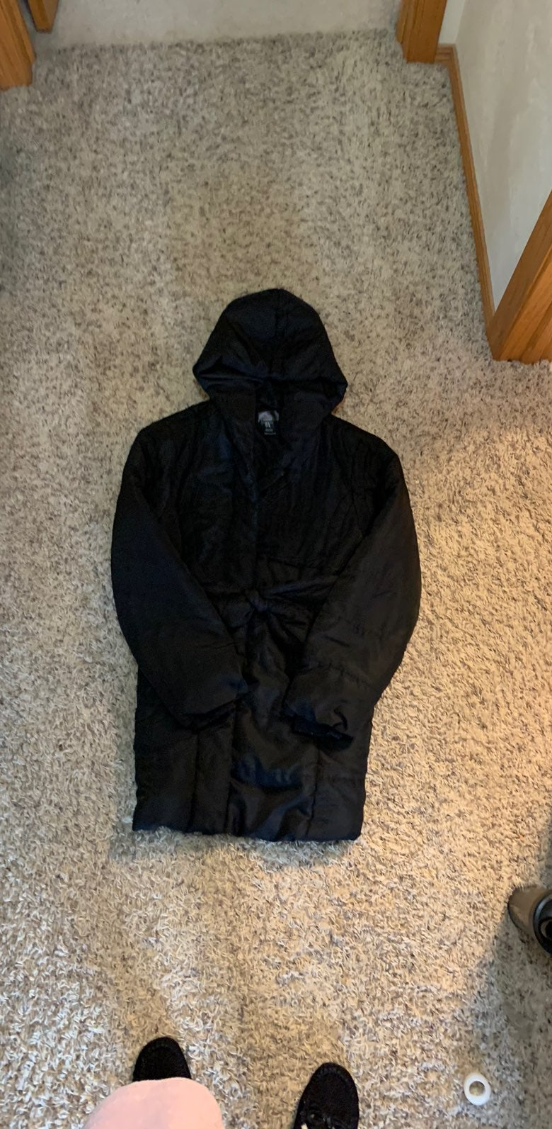 Large black winter maternity coat