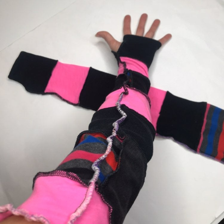 Reversible Pink Striped Patchwork Gloves
