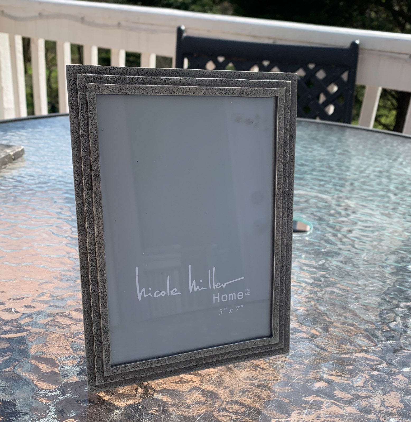 Silver 5x7 photo frame with easel back