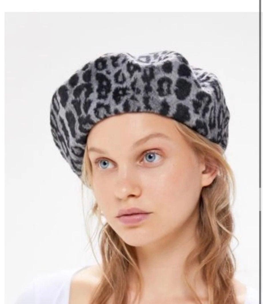 Urban outfitters cheetah grey beret