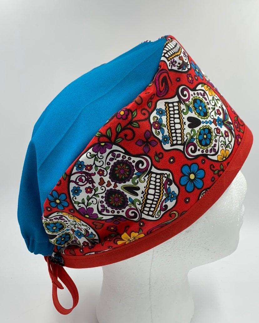 Red Sugar Skulls Scrub Cap