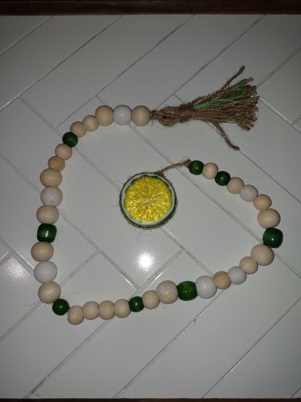 Lime wood bead garland
