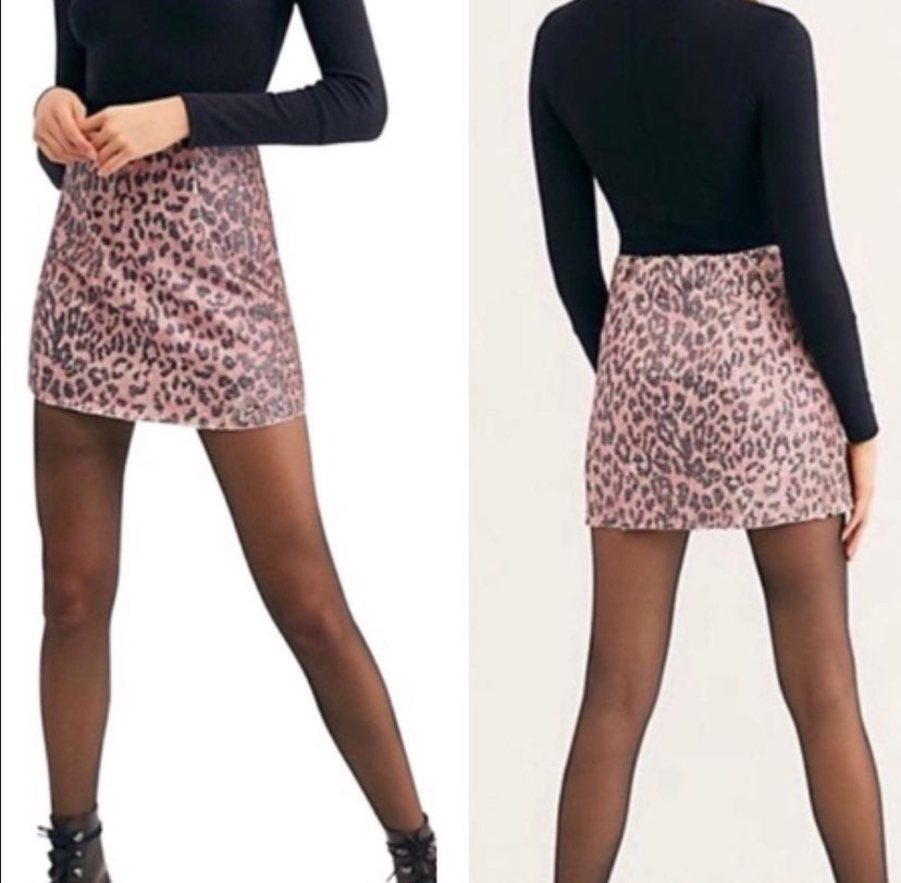 NWT Free People Sequin Cheetah Skirt