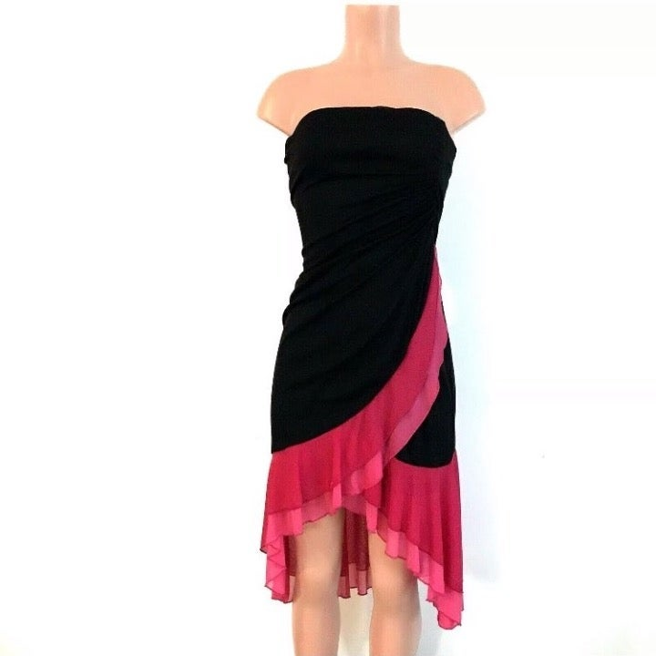 Formal Dress Strapless Dance Pink Black