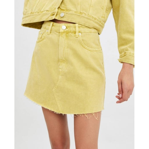 Zara Yellow Denim Jean Distressed Skirt