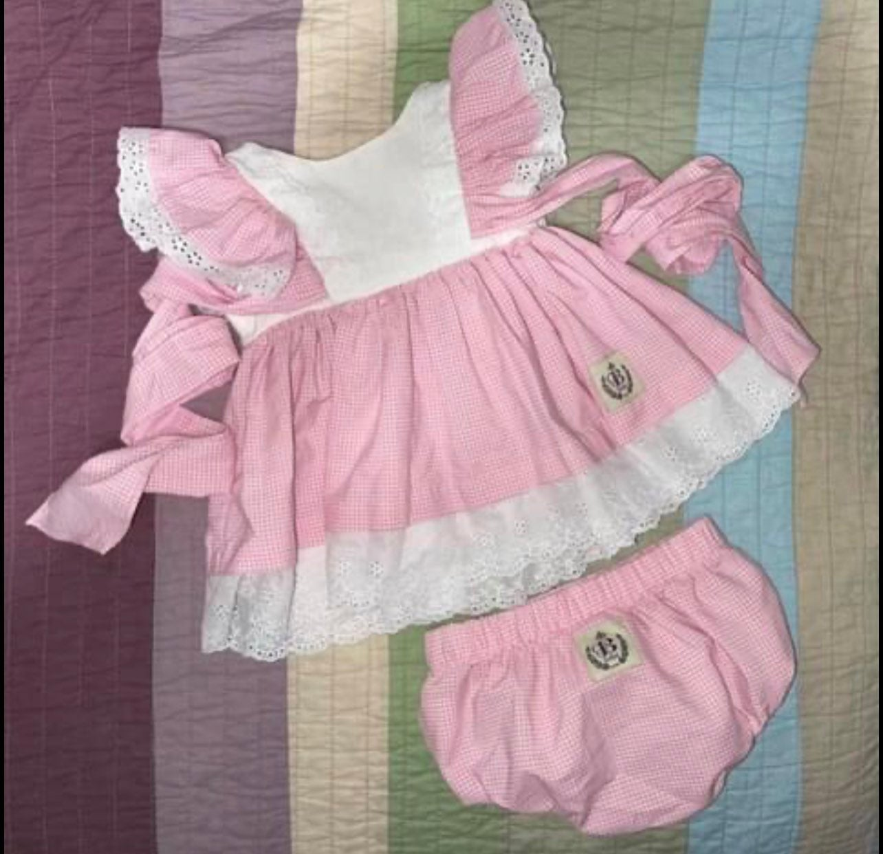 Bourgeois Bebe Pink Gingham Set - 6 mo