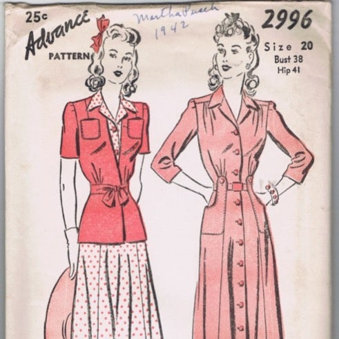New WWII House Dress Advance Pattern 20