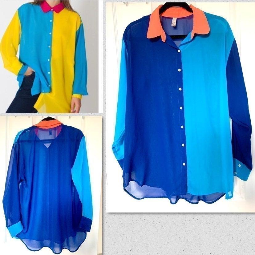 AMERICAN APPAREL Color Block Top Shirt