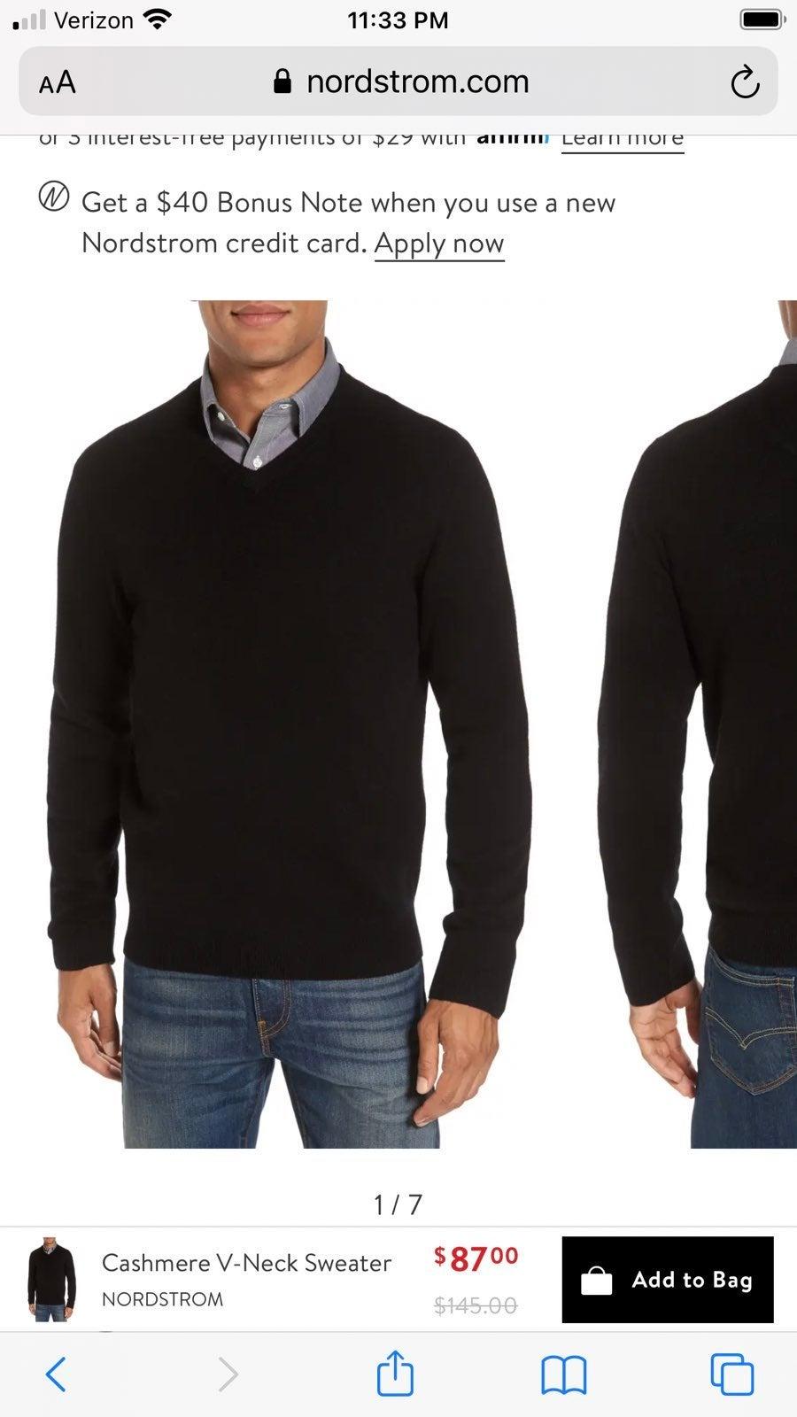 Men's L Nordstrom Cashmere Black Sweater