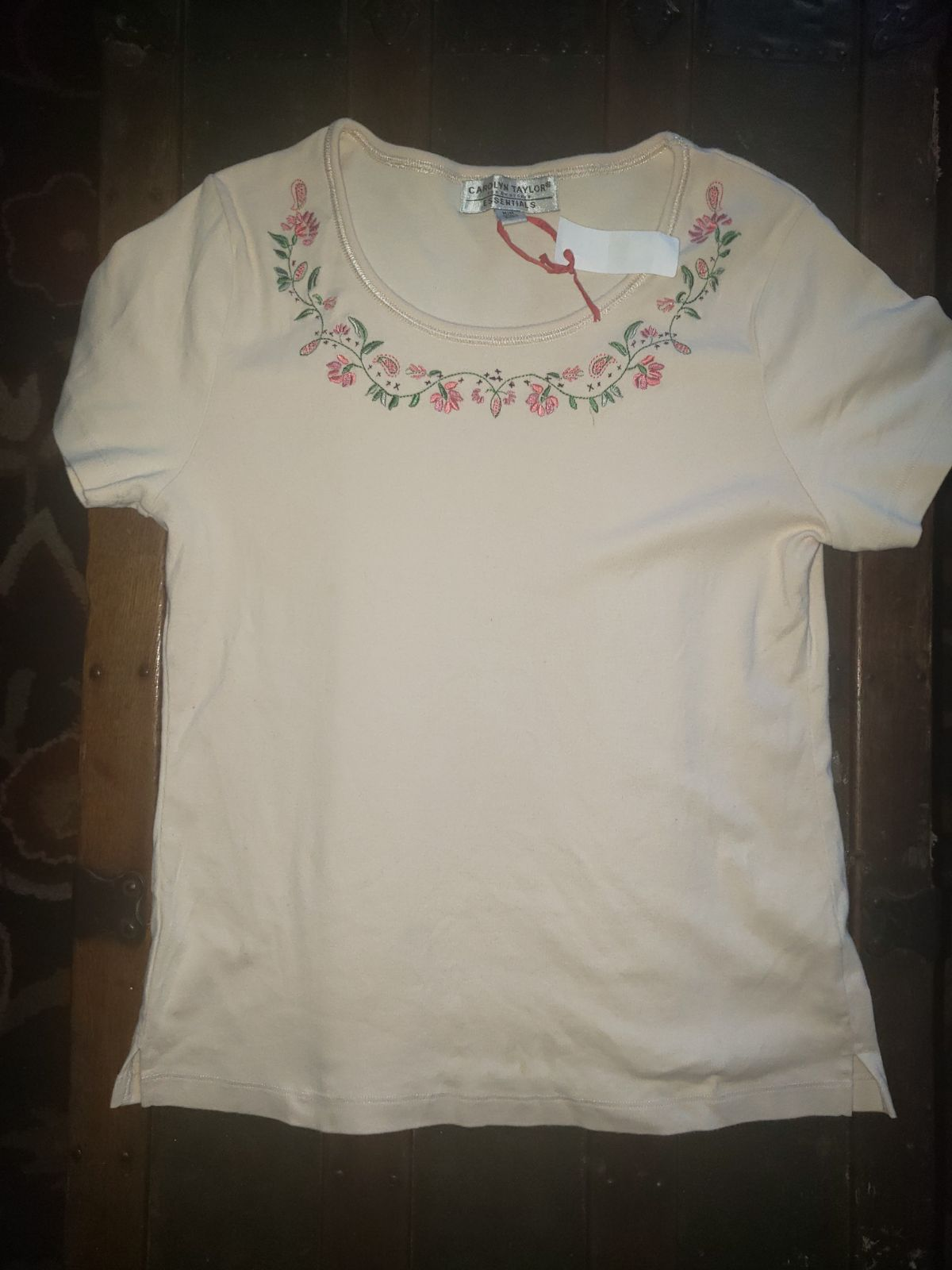 CAROLYN TAYLOR Embroidered cotton top M