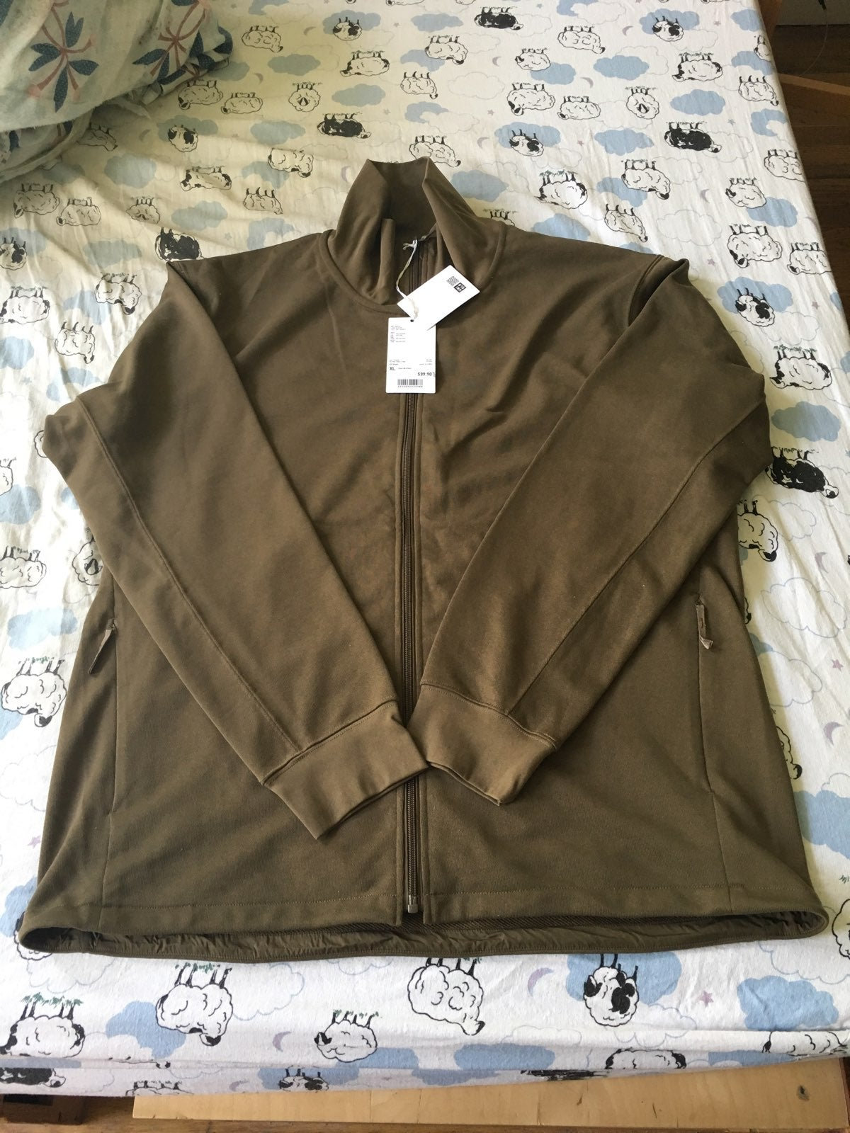 Men Olive Zip-Up Sweater