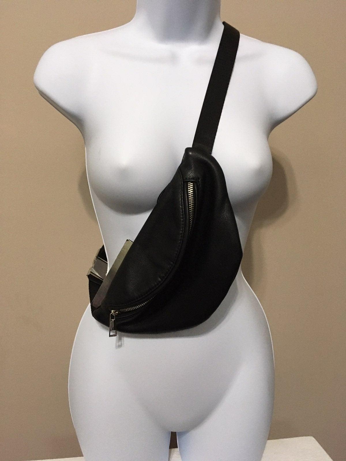 Black Faux Leather Fanny/Sling Bag