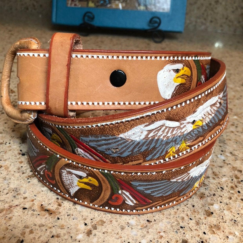Sz 42 Eagle Leather Hand-Tooled Art Belt