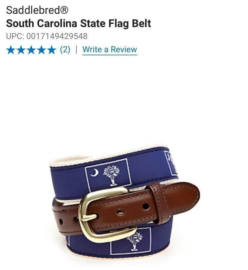 Saddlebred South Carolina Flag Belt
