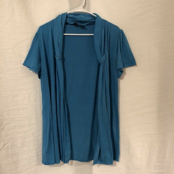 New Directions XL Shrug Blue Open Front
