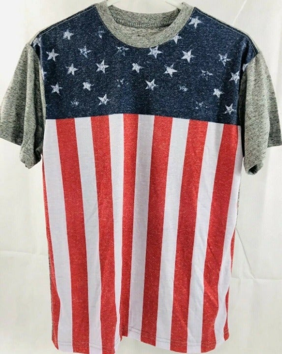 Men's Red Camel US Flag Graphic Tee Sz M