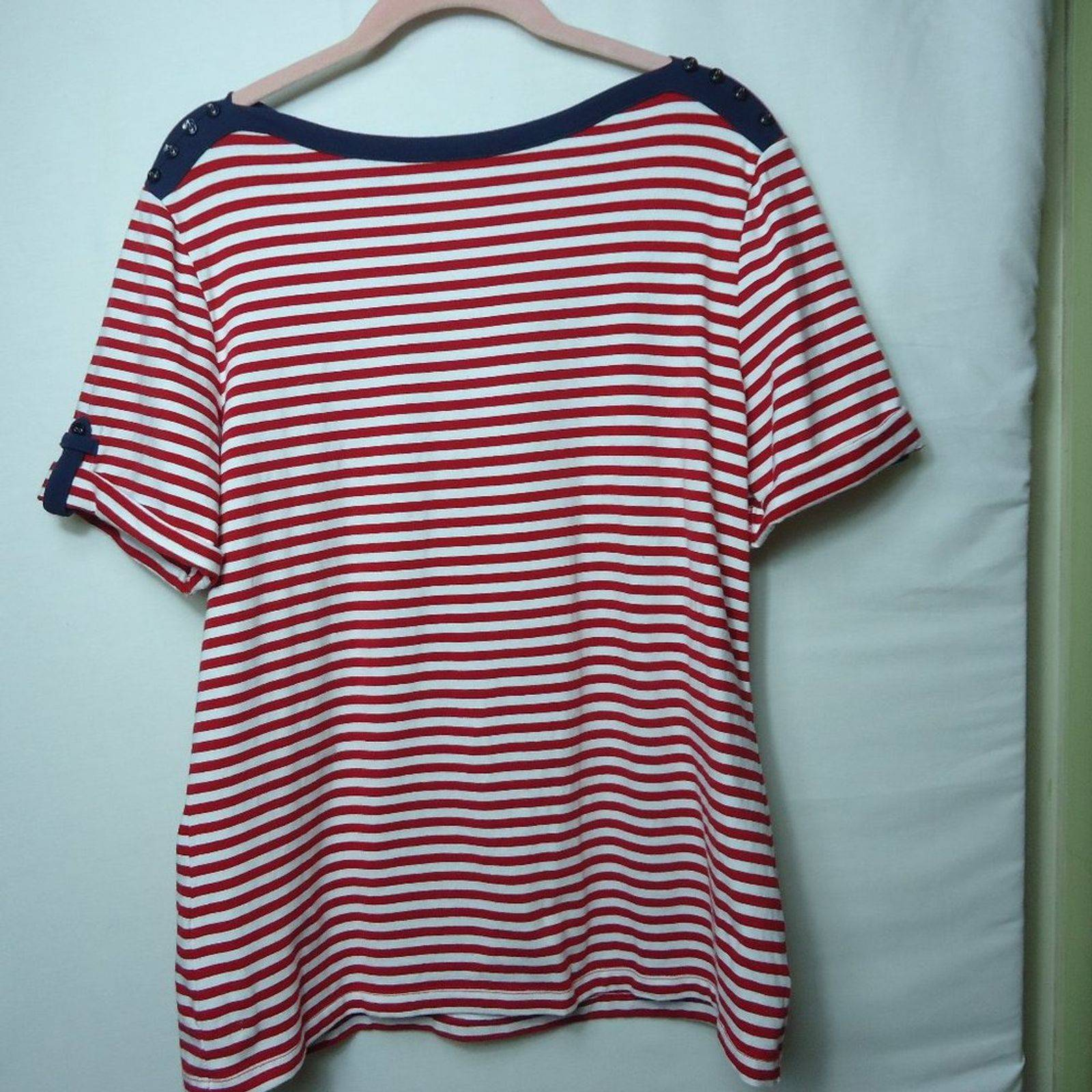 Denim & Co Boatneck Red White Stripe Top