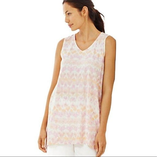 Pure Jill Sleeveless Pink Dipped-Hem Print Tunic S