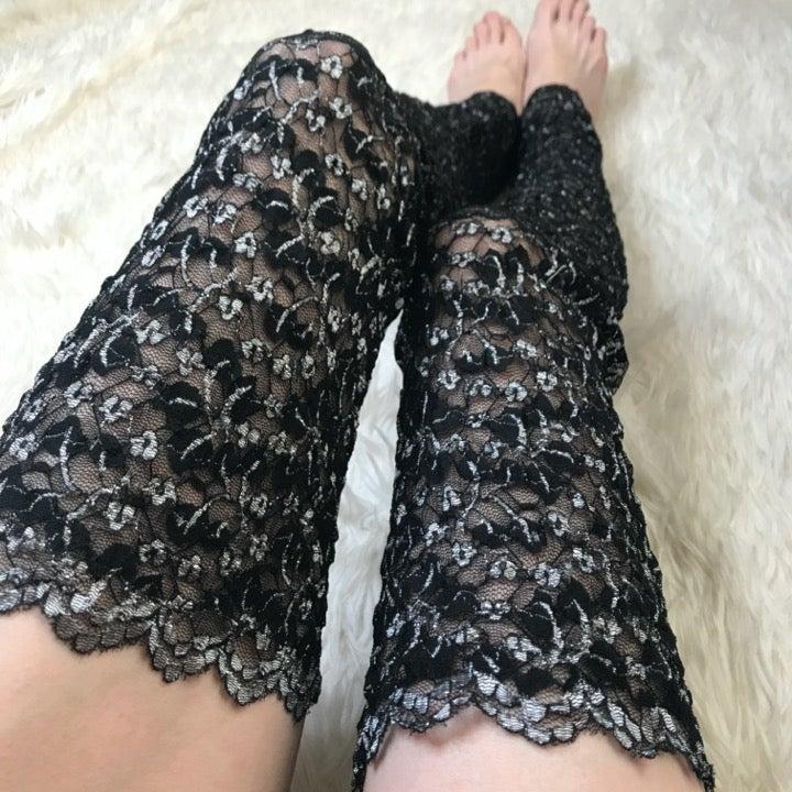 Sexy Black & Gray Sheer Lace Leg Warmers