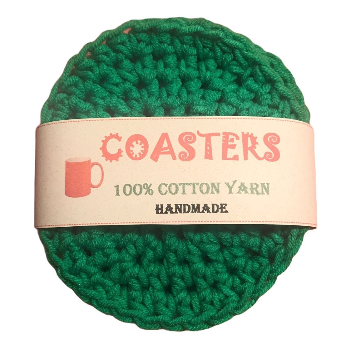 (4) Coasters - Xmas Green - 100% Cotton