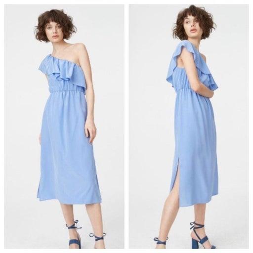 New Club Monaco One Shoulder 100% Silk Dress