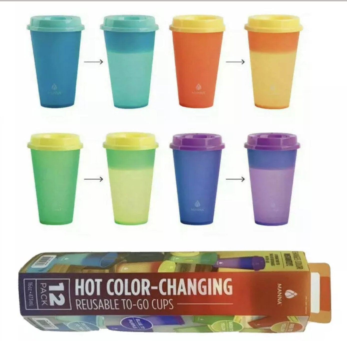 12 Pack HOT Color Changing To-Go Cups