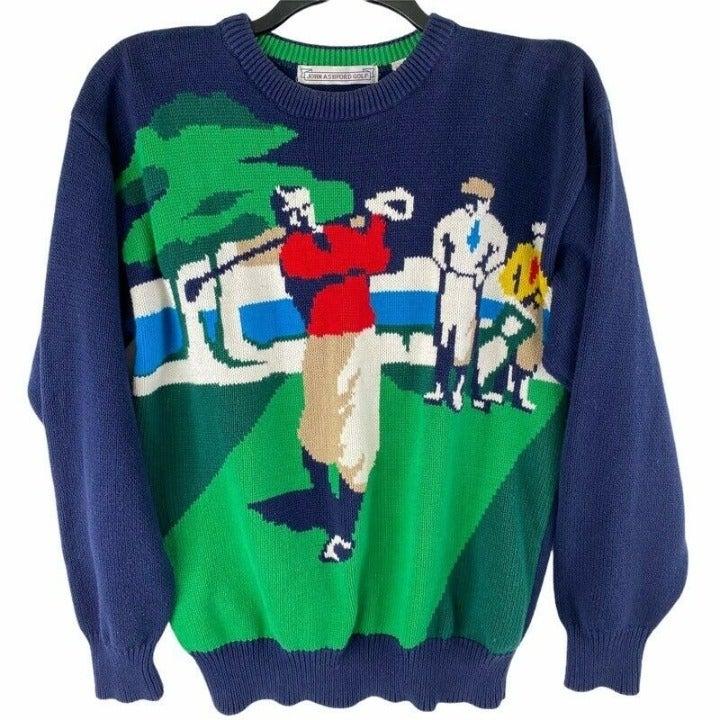 John Ashford Golf Mens Graphic Sweater
