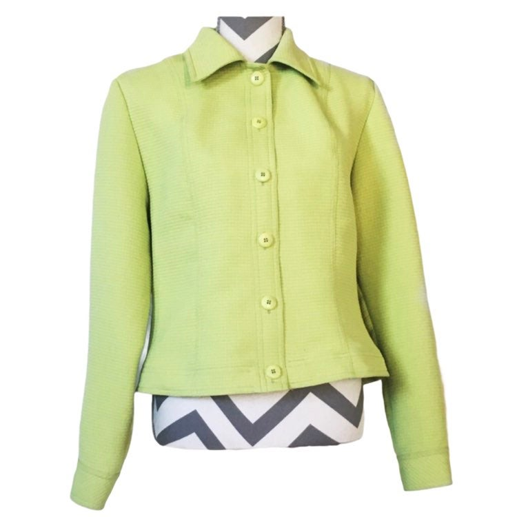 Lime Green Collared Button Jacket