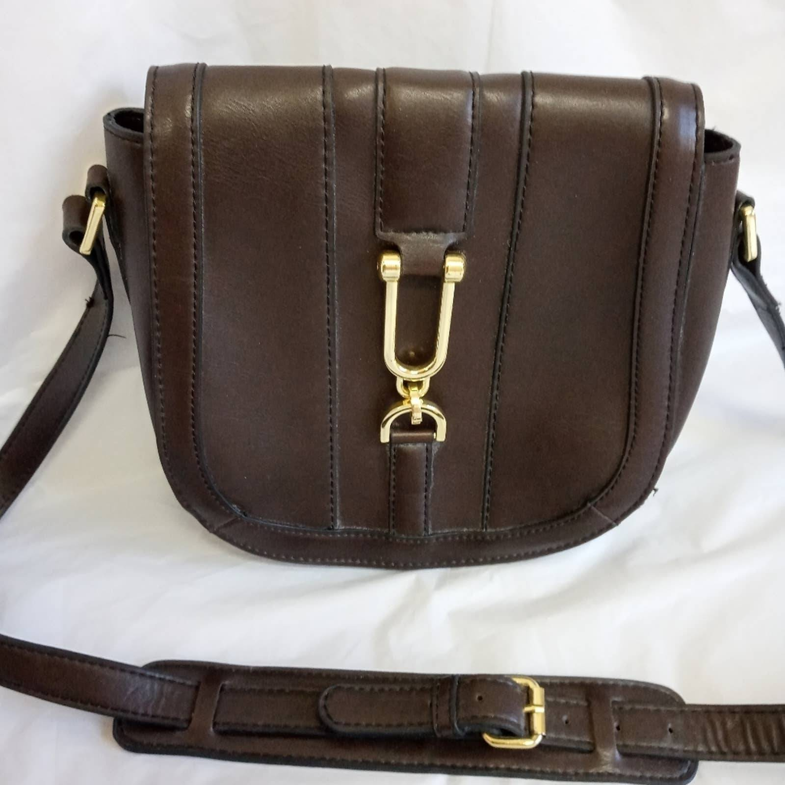 London Fog Saddle Dora Brown leather bag