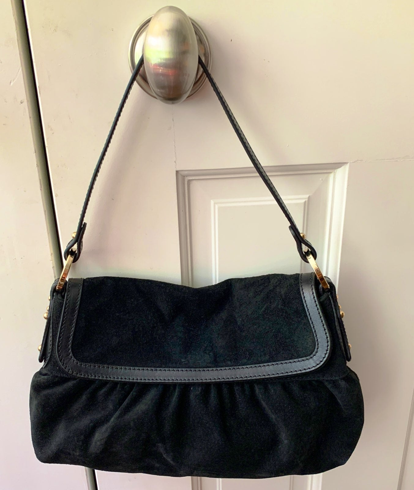Fendi black velvet purse