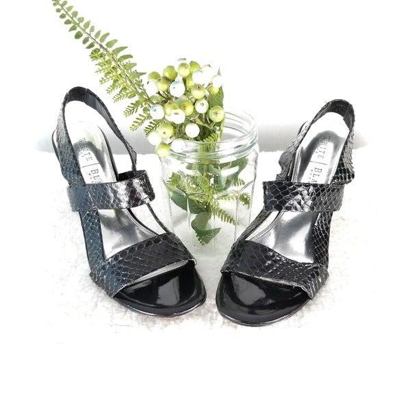 WHBM Black snakeskin strappy heels
