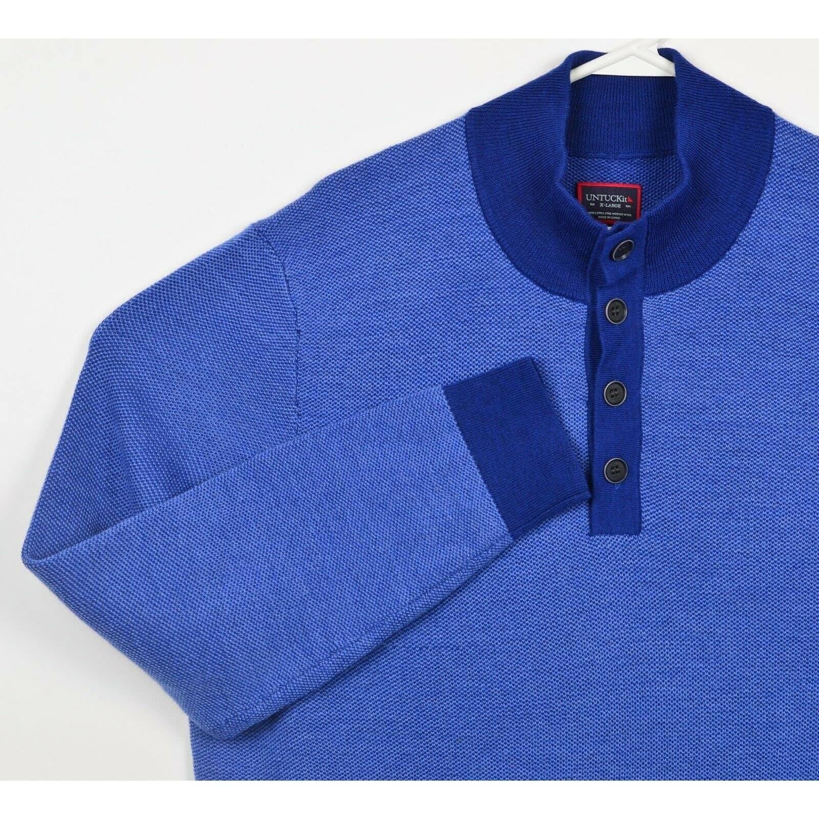 UNTUCKit Men's XL Merino Blue Sweater