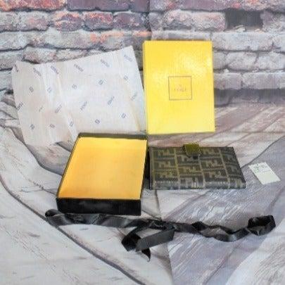 Fendi VIntage Logo Wallet Box Fold Brown
