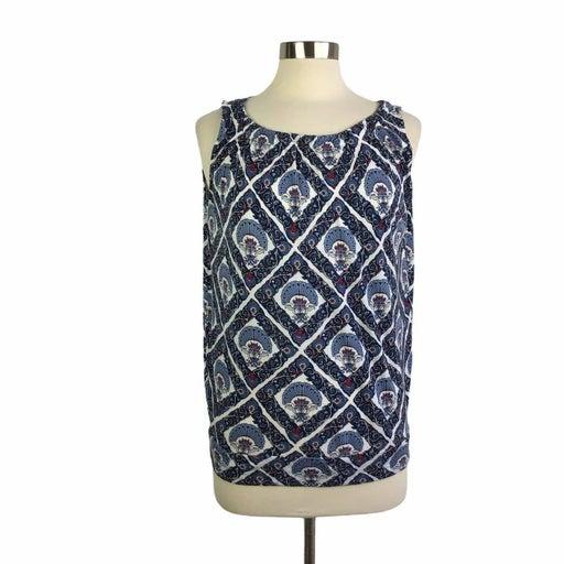 Loft Outlet M Blue Fan Print Knit Top