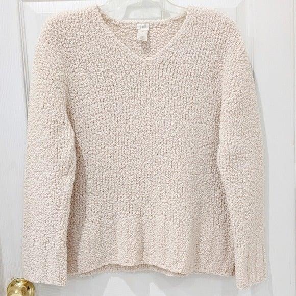 J. Jill Cream Teddy V-Neck Sweater sz M