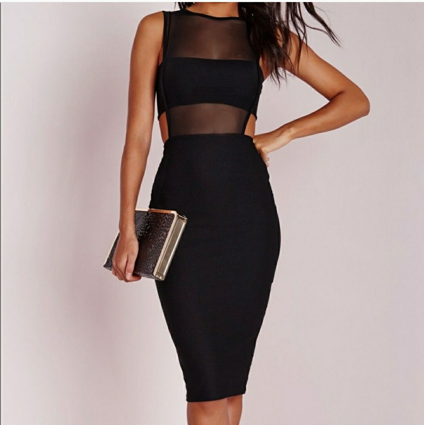Missguided crepe cut out midi dress