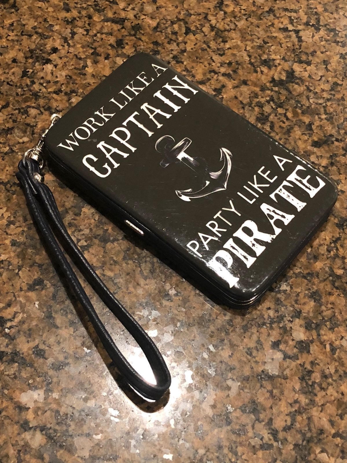 Icing Navy Blue Patent Phone Case Wristl