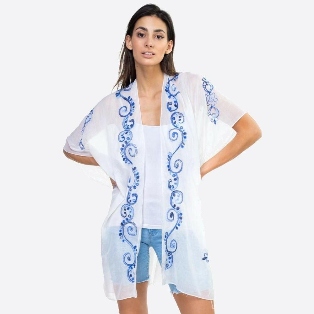 White with Blue Embroidered Trim Kimono